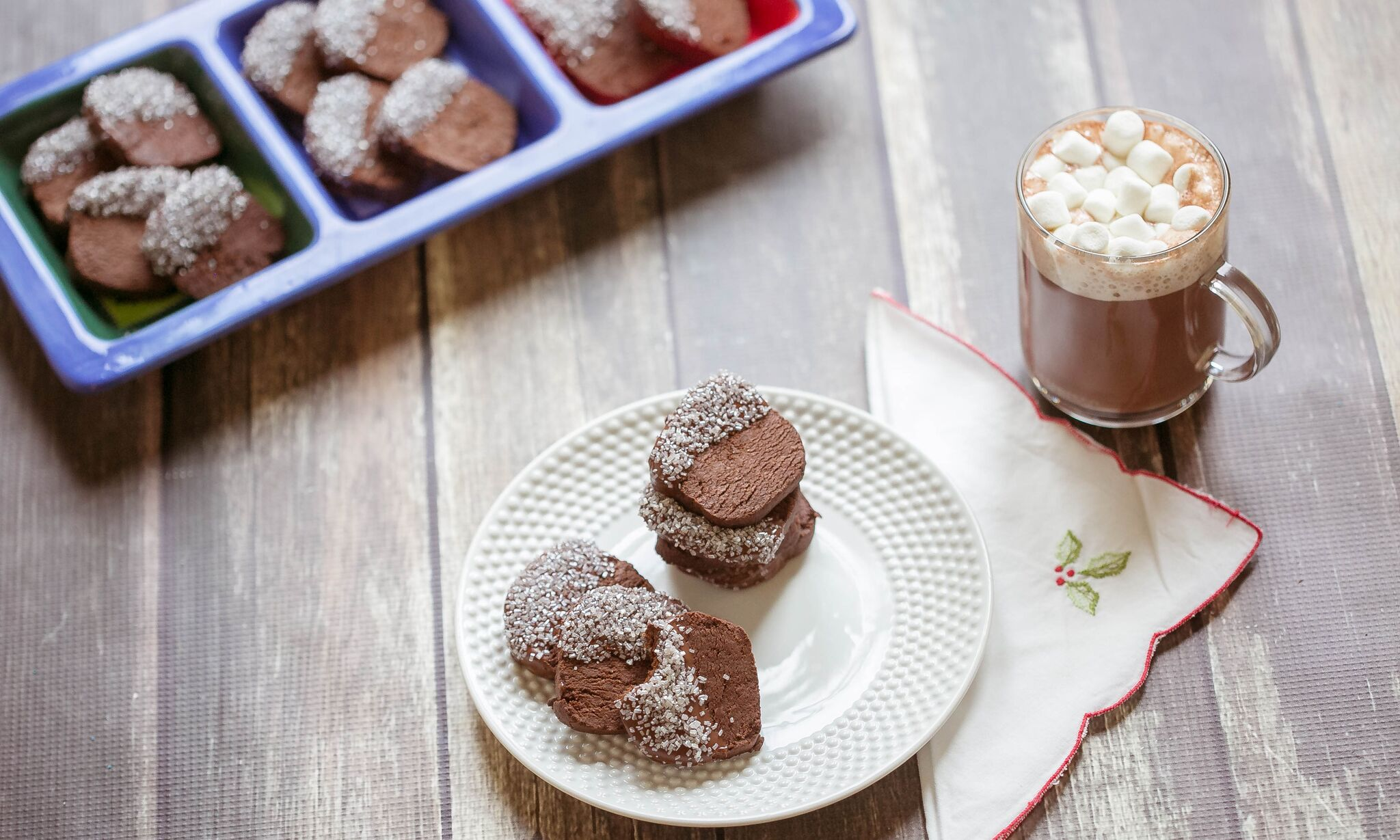 Serve spicy chocolate cookies with a glass of warm hot cocoa.