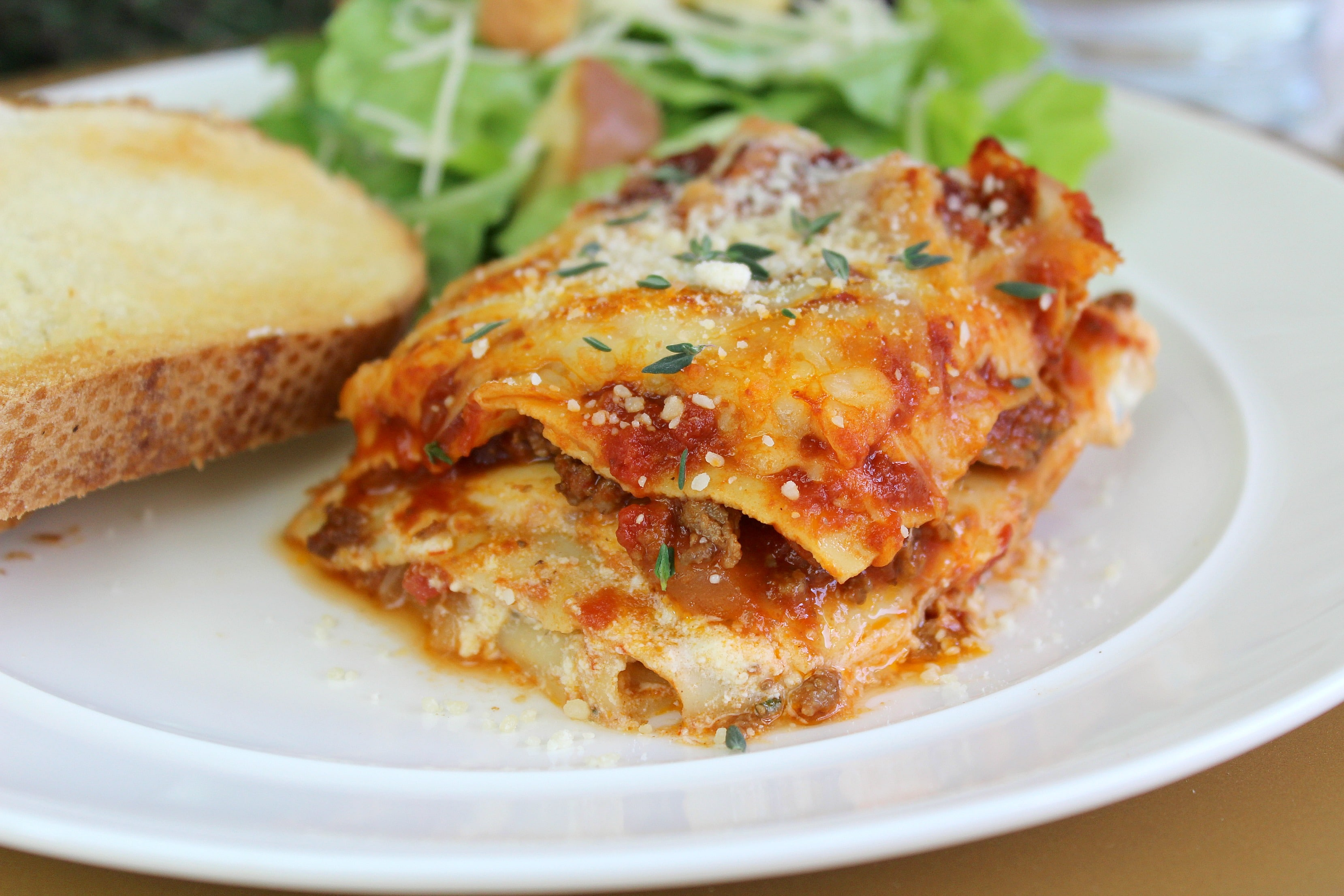 Enjoy a plate of this easy vegetarian lasagna with a side of crusty garlic bread and a green salad.