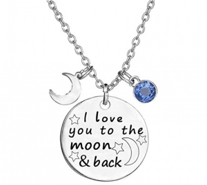 "TISDA Birthstone Crystals Necklace - ""I Love You to the Moon and Back"" 