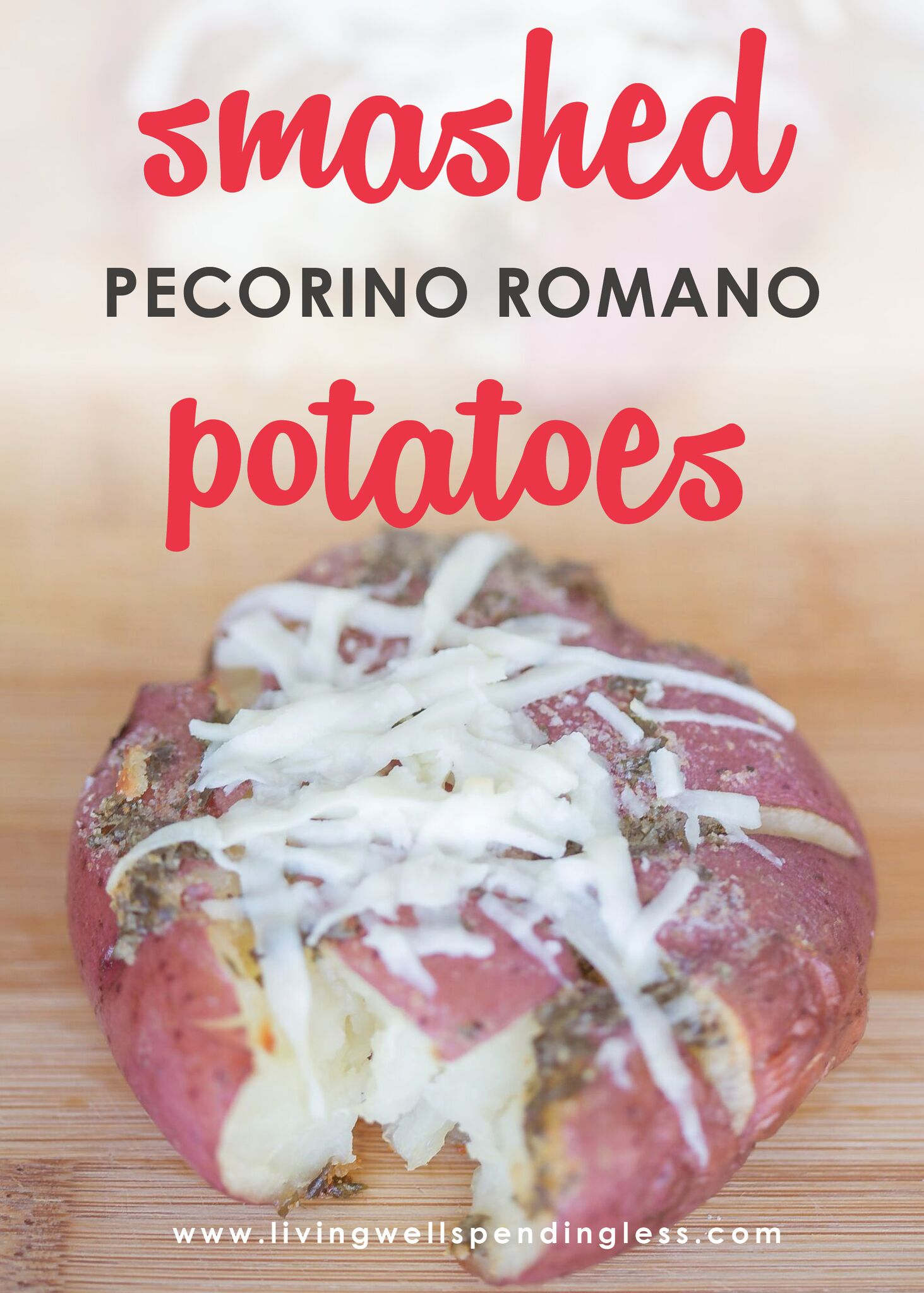 Your family will devour these savory Smashed Pecorino Romano Potatoes!
