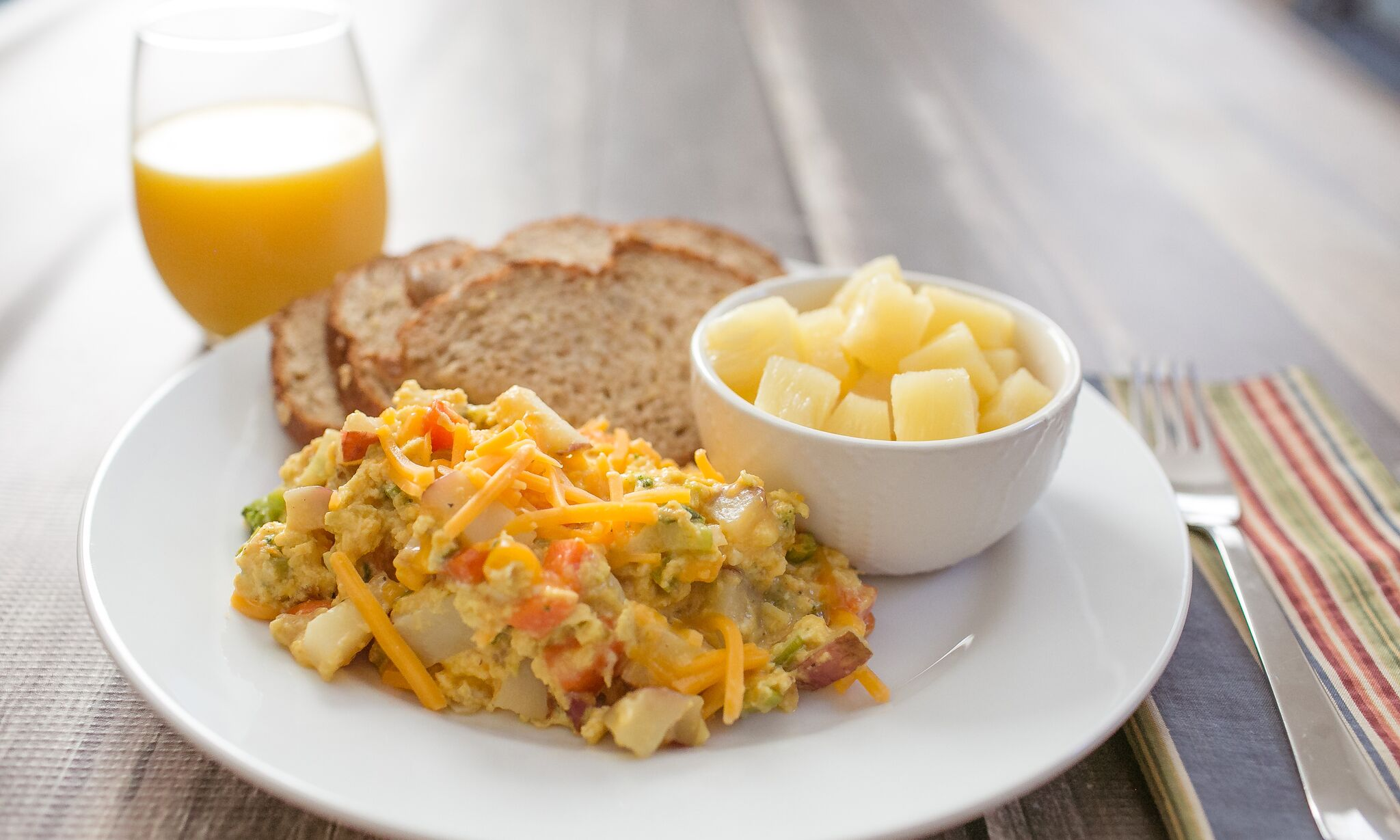 Serve this veggie egg scramble alongside some toast and fresh fruit for a delicious breakfast