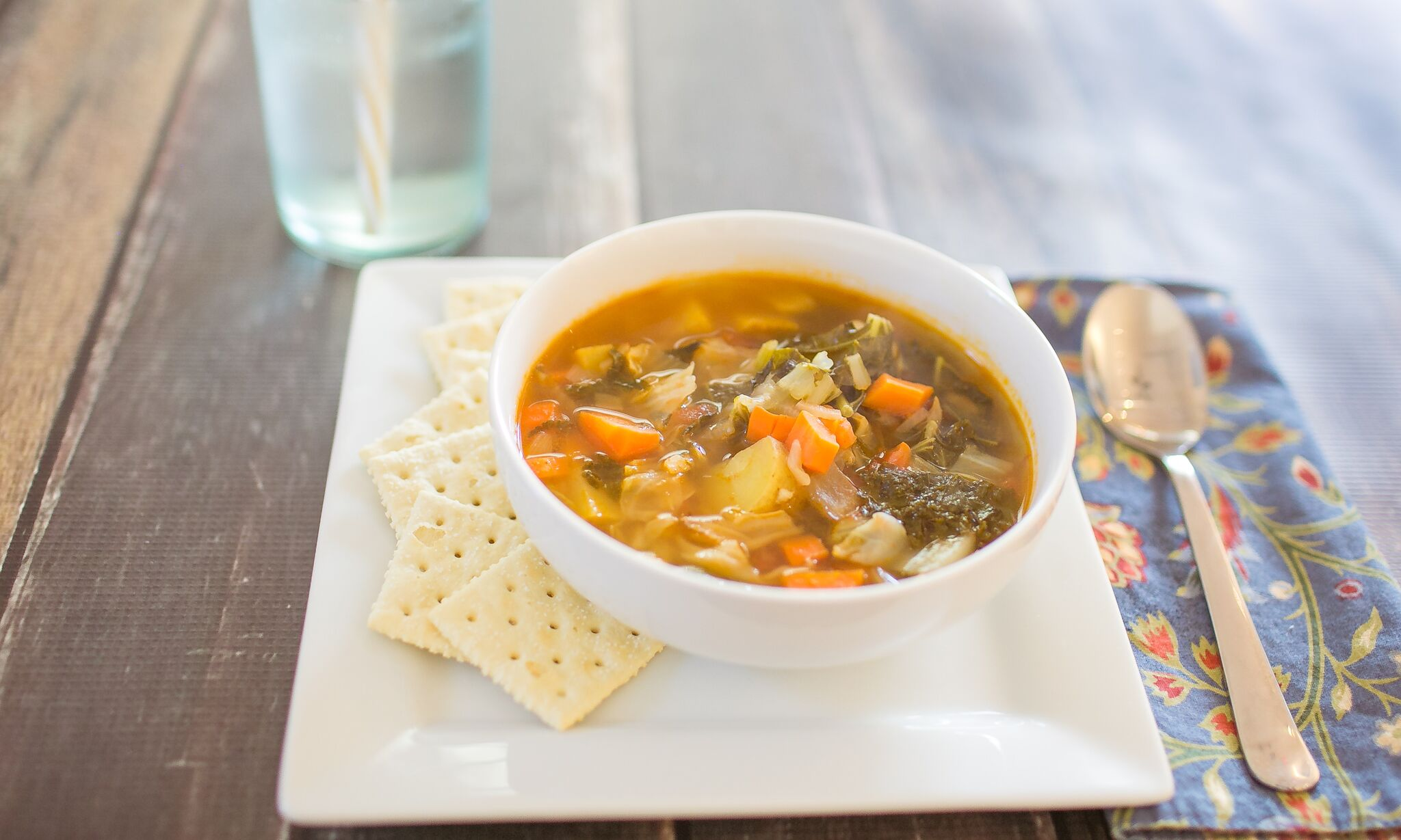 Serve finished winter diet soup with crunchy crackers on the side.
