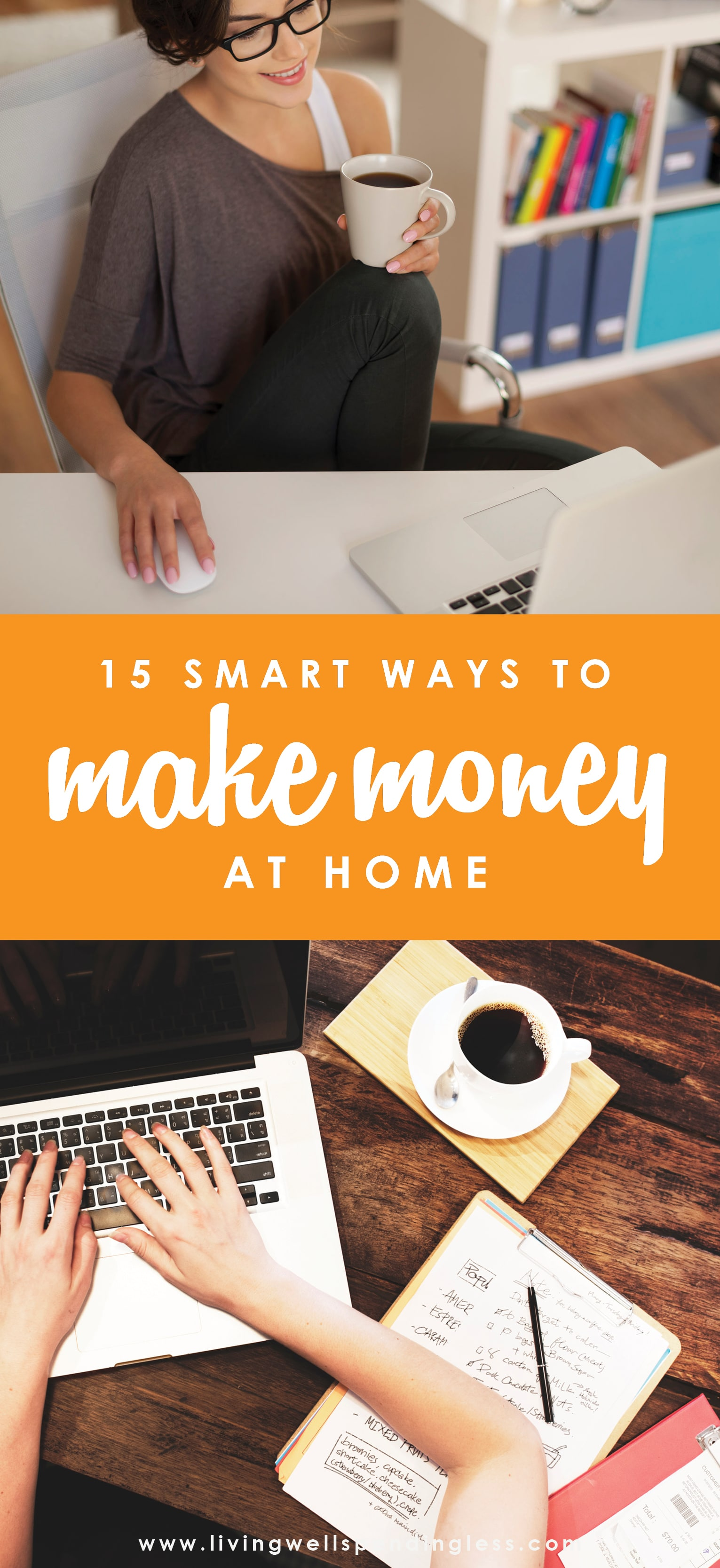 Whether you're looking to get paid for a passion project or just help pad your budget a little, starting a small business at home is a great way to do it. Today the possibilities are greater than ever before. Here are just 15 suggestions we put together to help you start a business without leaving home.   15 Smart Ways to Earn Money From Home  ⎢  Make a Full-Time Living Without Leaving the House  ⎢  Start an Online Business  ⎢  Entrepreneur  ⎢  Work for Yourself  ⎢  Work from Home  ⎢  Stay at Home Mom