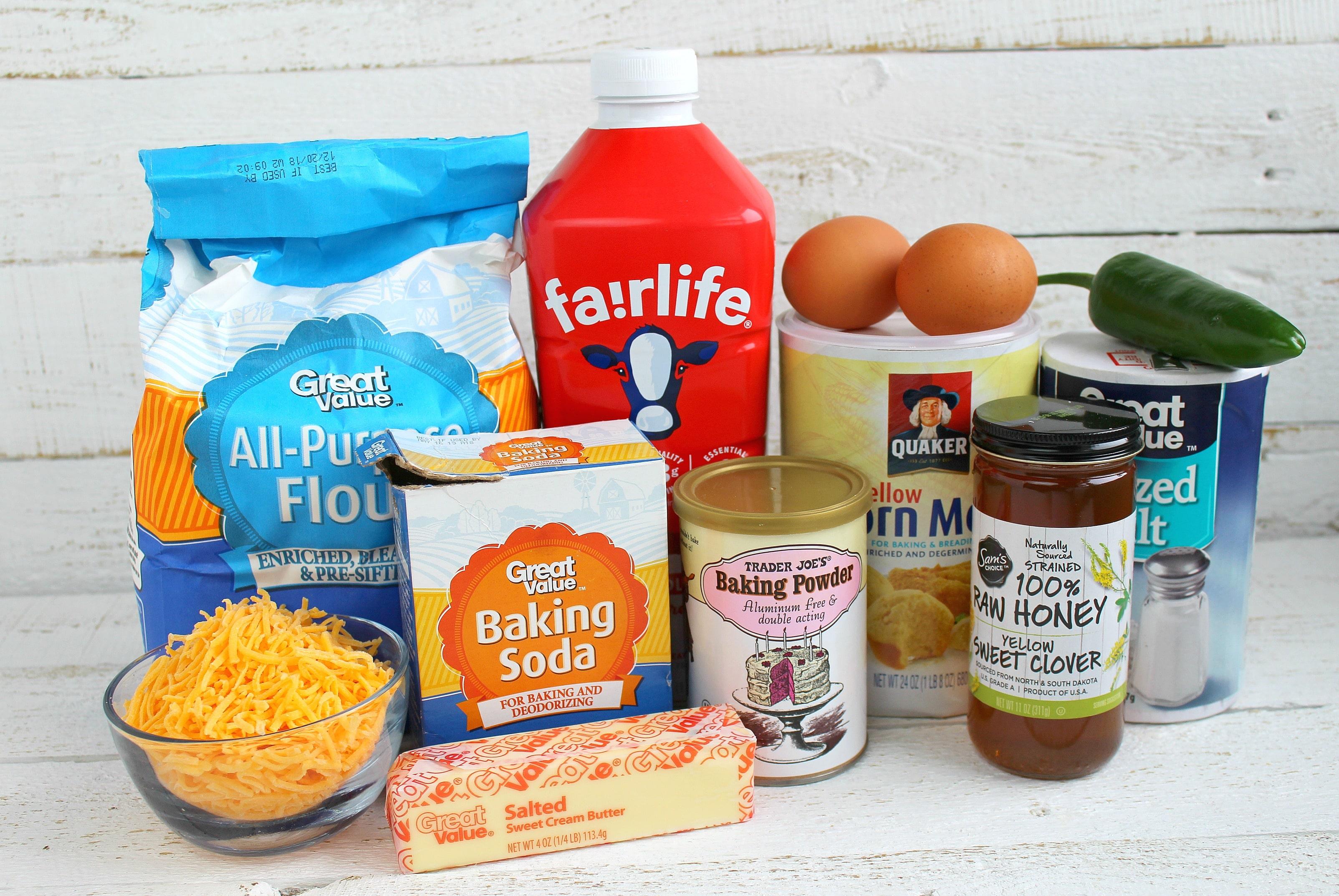 Ingredients for jalapeno cornbread
