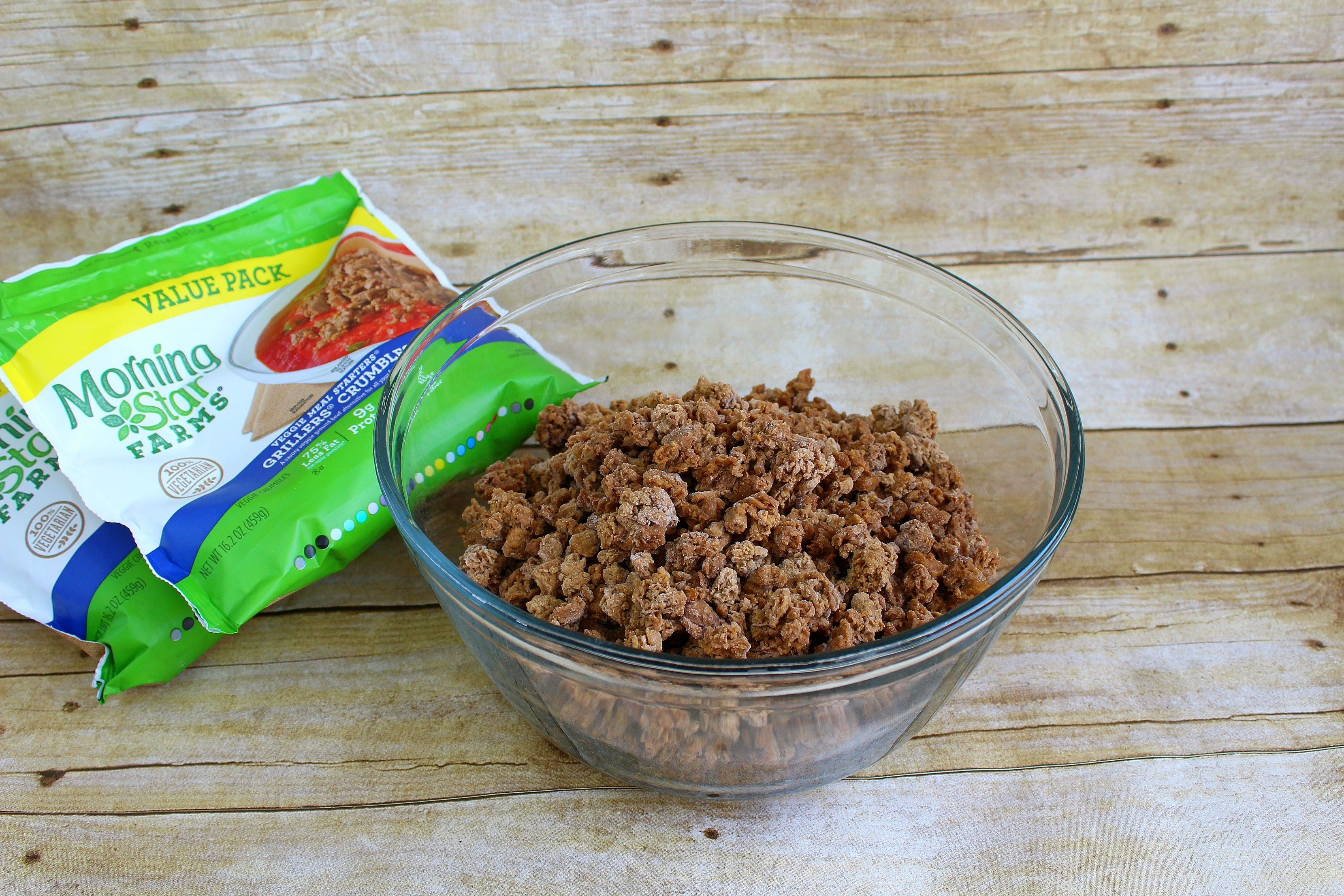 Start with Morning Start vegetarian protein crumbles.