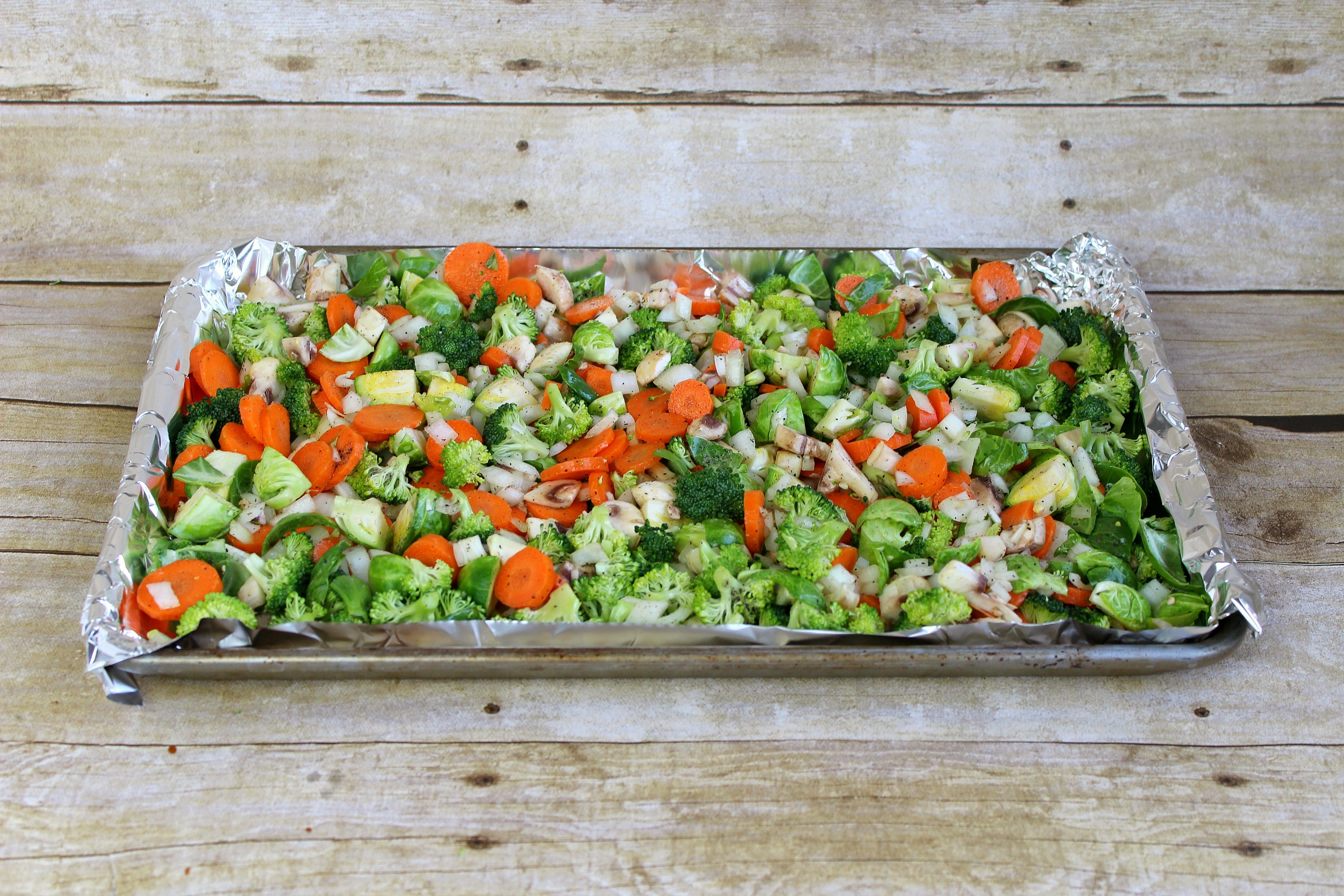 Spread the veggies out on a baking pan before roasting