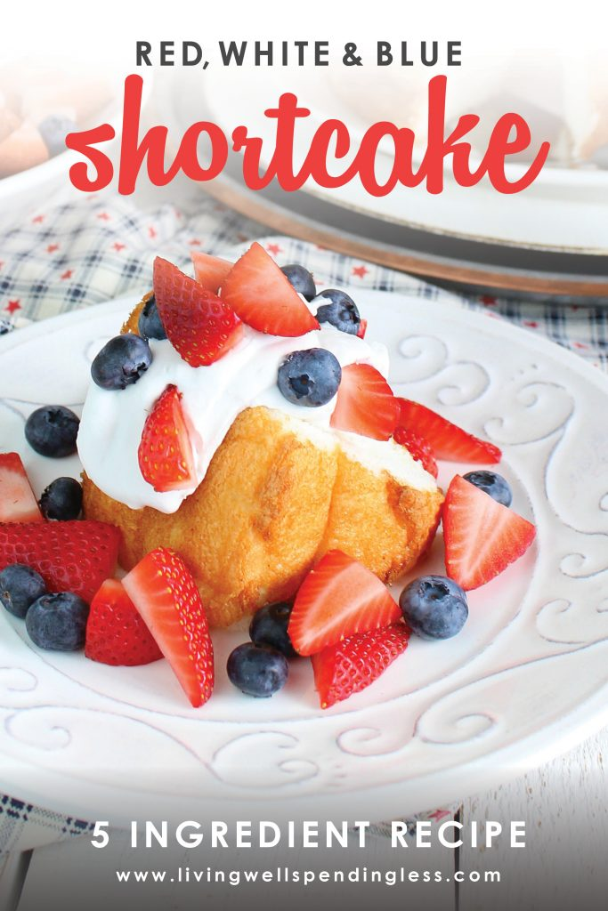 This red white and blue- strawberry, blueberry shortcake is the perfect festive 4th of July summer dessert. Perfect for your next Independence Day party! #summerdesserts #4thofjuly #strawberryshortcake