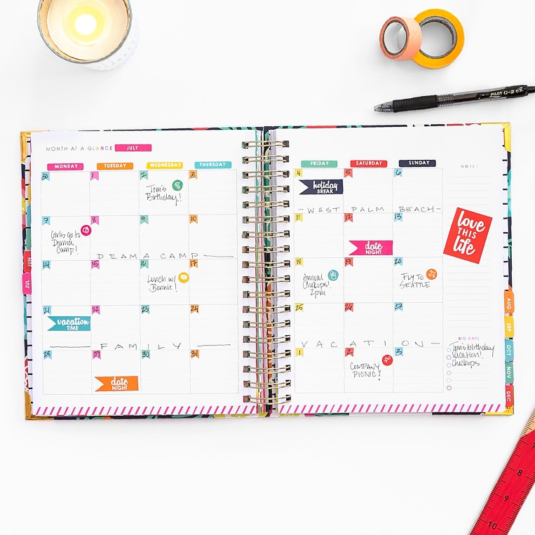 Each month in the new Living Well Planner® is customizable to your preferences and schedule.