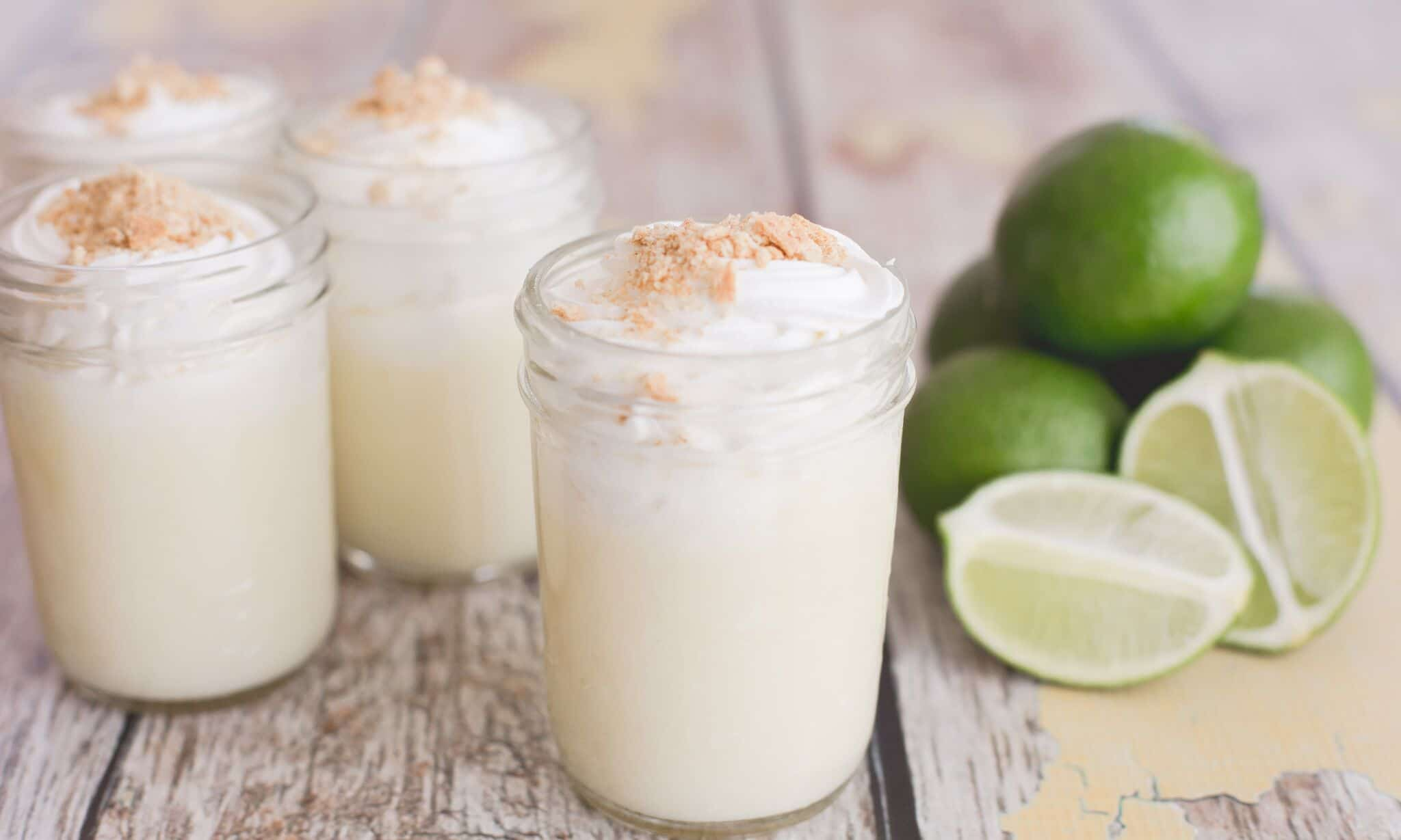 Store this key lime custard in mason jars and top with whipped cream and graham crackers