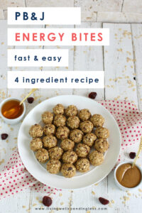 Need a healthy way of keeping your energy up all day long? These ridiculously easy PB&J Energy Bites pack a powerful punch, and with just four simple ingredients, they come together fast! Perfect for popping in your purse or your kids' lunch bags, these Energy Bites are just the thing to keep you going strong! #livingwellspendingless #foodmadesimple #recipes #backtoschool #nutfree #peanutbutteralternatives