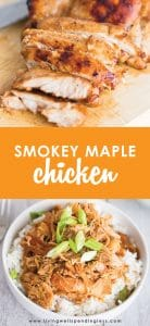 """Looking for a fresh new way to serve the """"same old chicken""""? This quick and easy Smokey Maple Chicken is budget-friendly, delicious, and freezer friendly, too! #livingwellspendingless #freezermeals #recipes #freezercooking #budgetfriendly"""