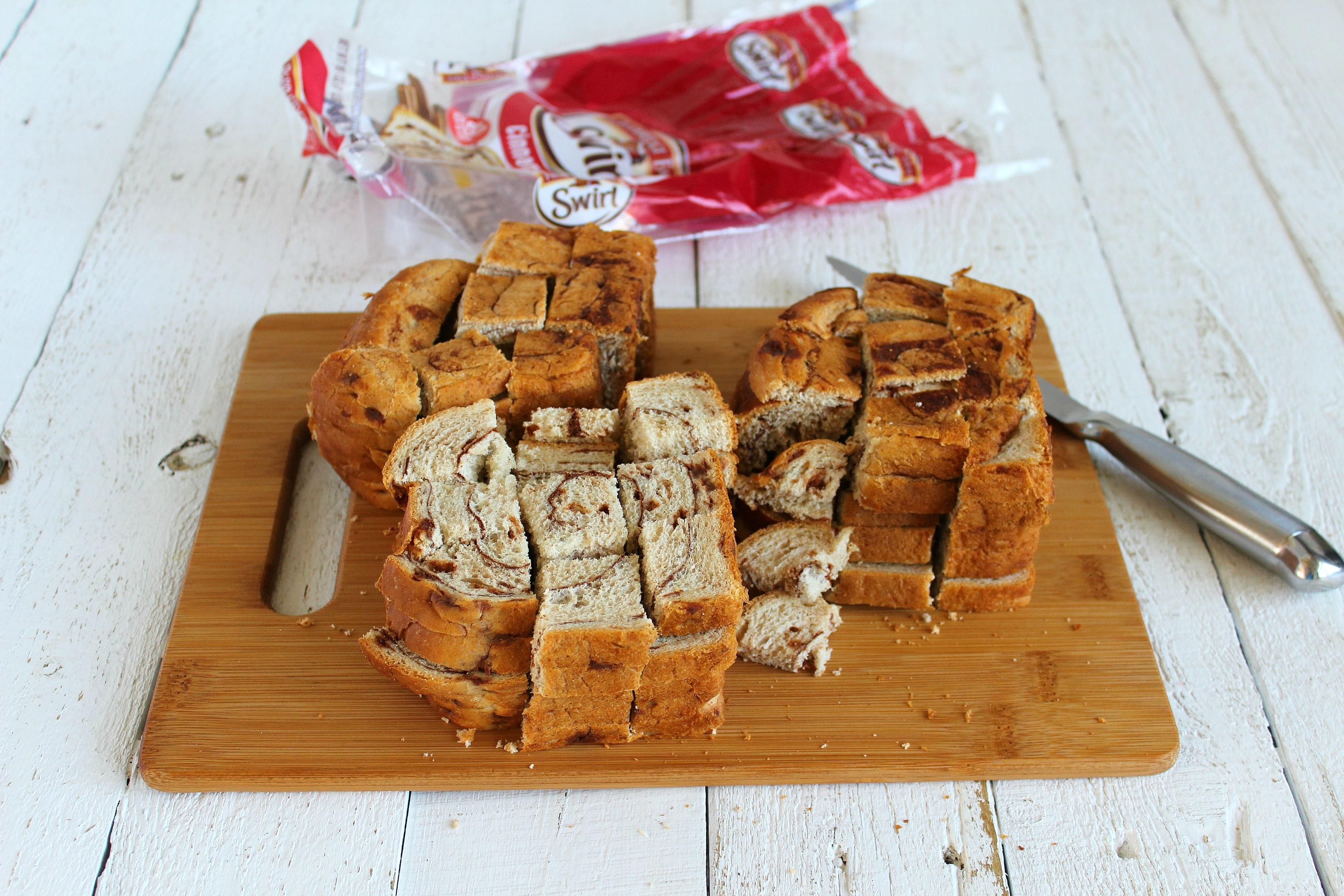 Slice bread for best ever bread pudding recipe