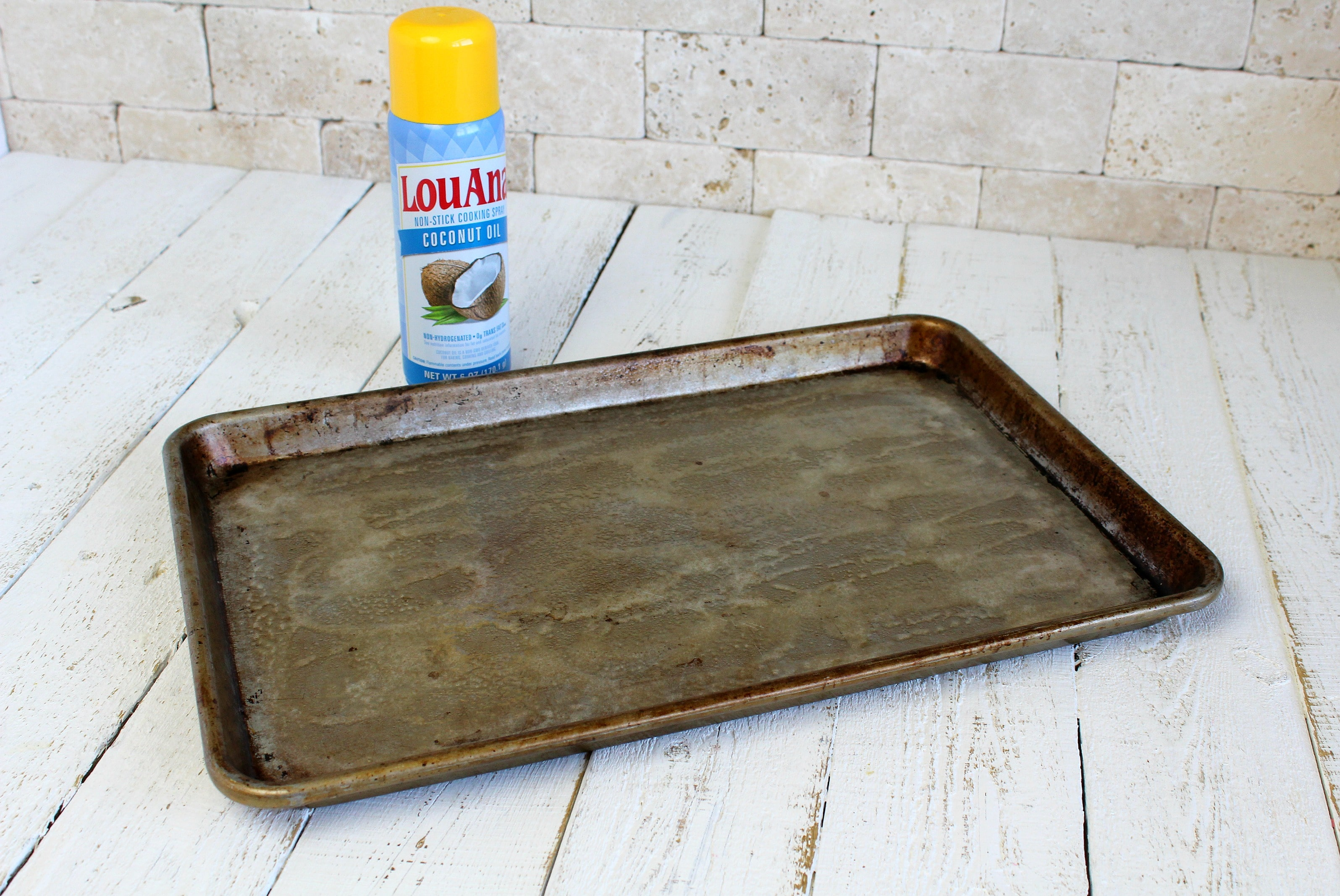 Coat a baking sheet with cooking spray (or you can line with foil for easy clean up)