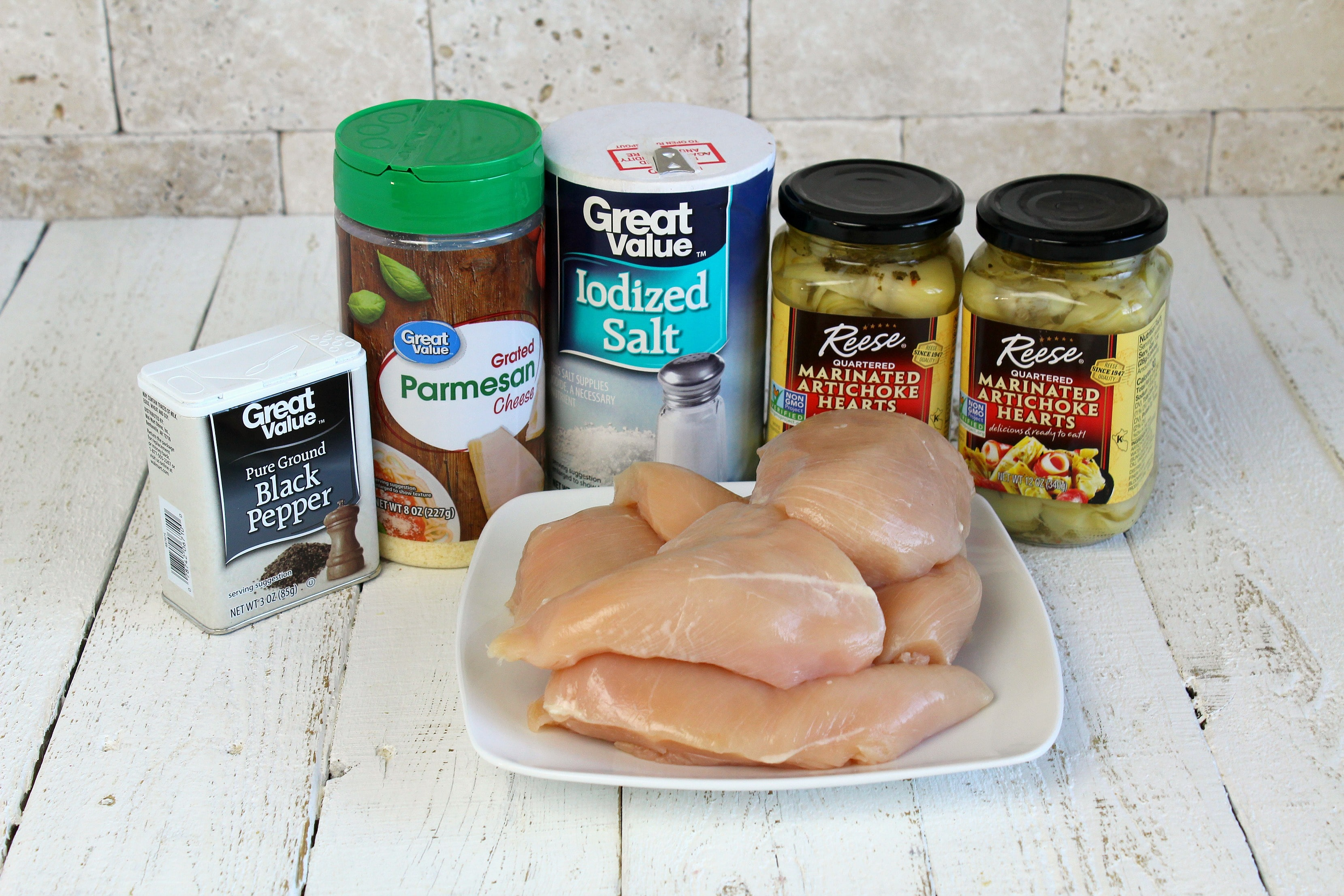Ingredients needed for one-pan chicken and artichokes recipe