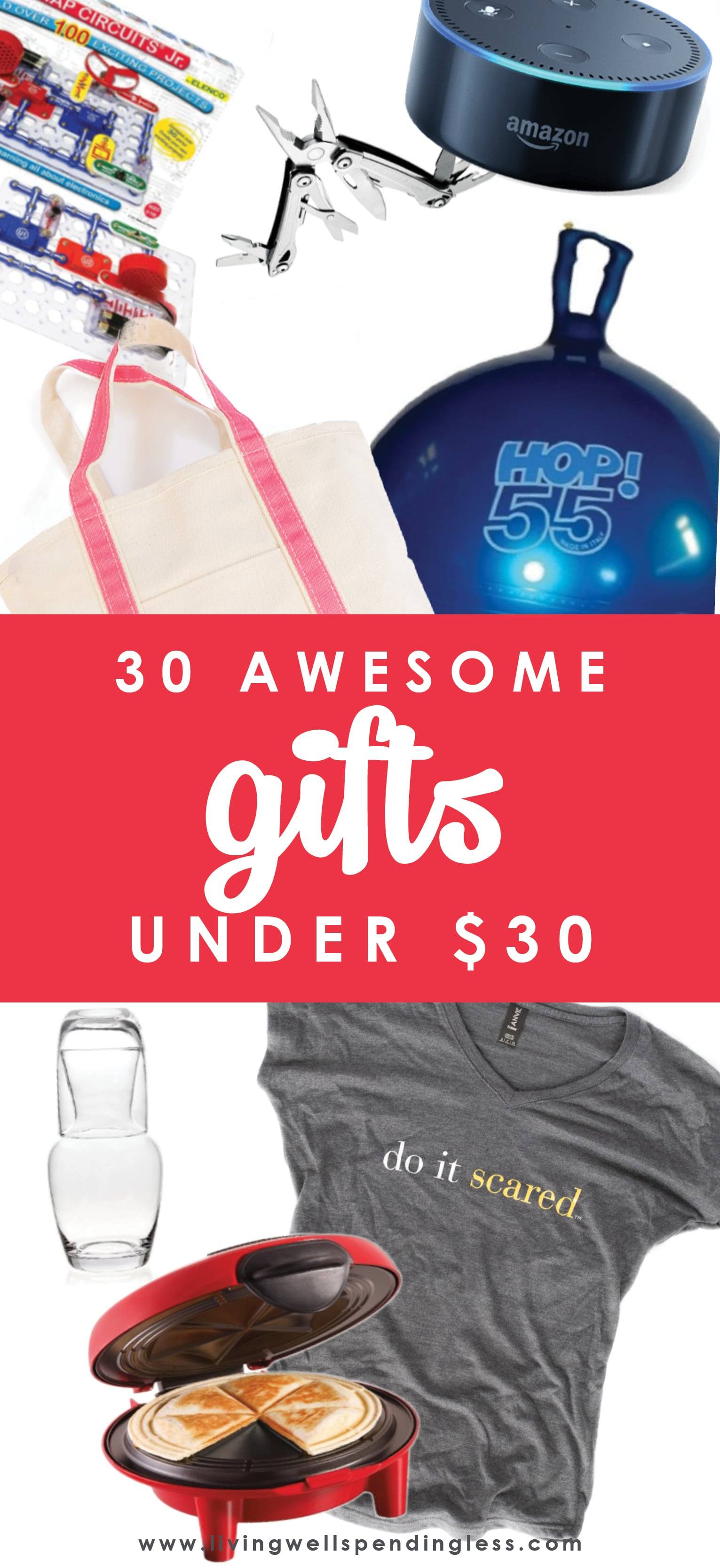 Finding the perfect gift can be a challenge, especially when you don't have much to spend!  If you've still got some shopping to do (or haven't even started yet) you will not want to miss these 30 awesome gift ideas for $30 or less!