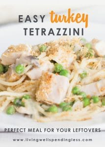 Got turkey leftovers? This Turkey Tetrazzini recipe is one creamy, comforting, and easy to make casserole recipe that will delight your whole family!