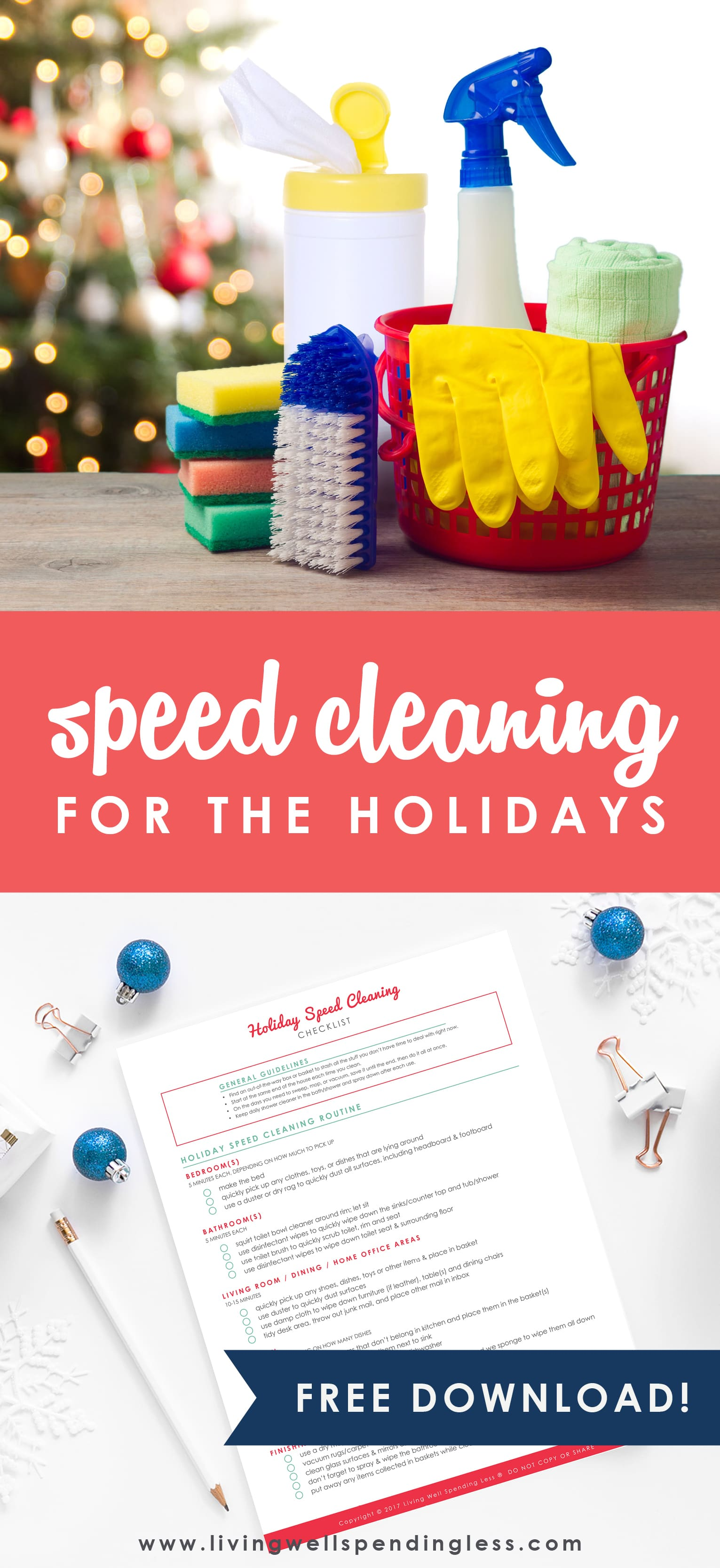 Don't have any extra time to clean during the holidays? No sweat! I've put together my speed cleaning routine to help you tidy your home in half the time to keep the sparkle in your holiday season.