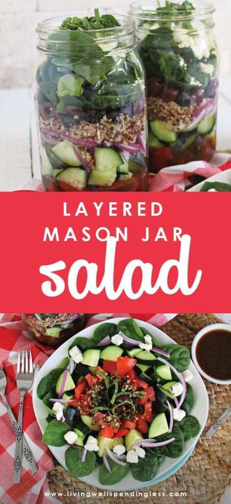 Looking for healthier lunch options that you can make ahead of time? These Mason Jar Salads are easy to assemble and will last you all week!