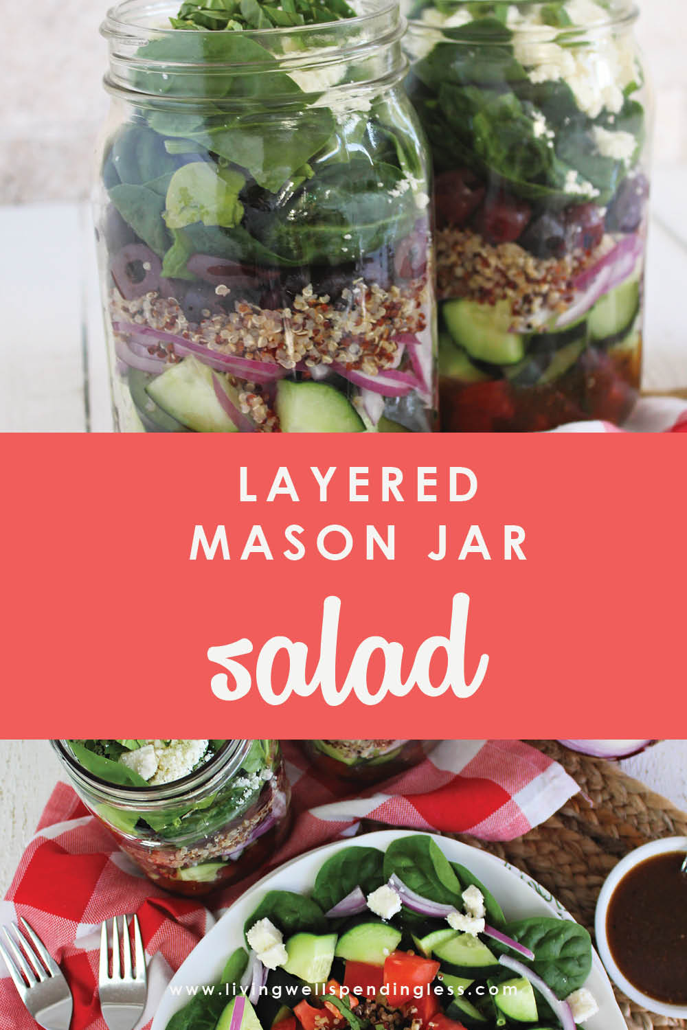 Looking for healthier lunch options that you can make ahead of time? These Mason Jar Salads are easy to assemble and will last you all week! #salads #masonjarsalads #greens #healthylunch #packyourlunch #lunchrecipes #saladrecipes #greeksalad