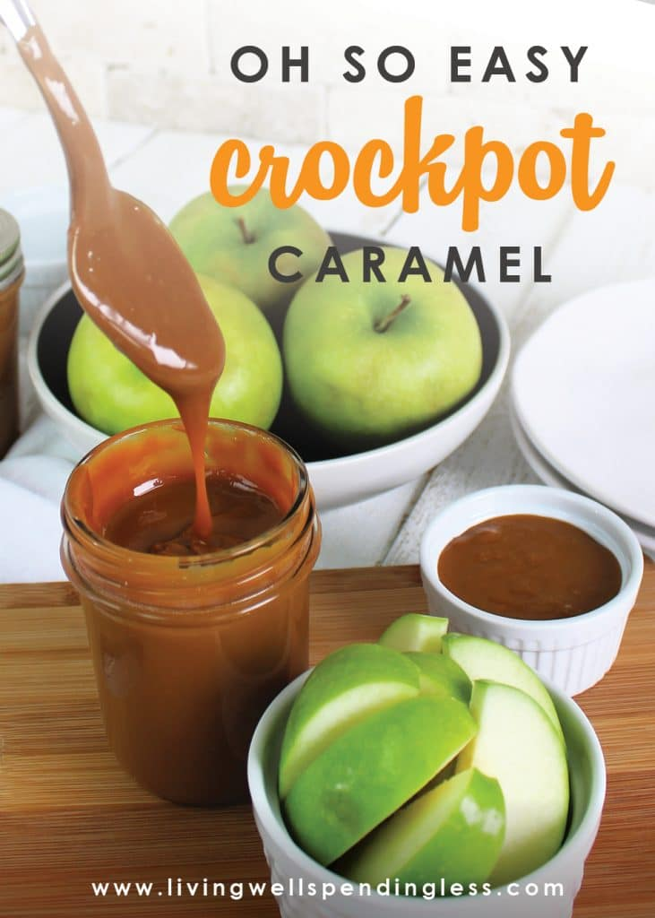 This easy crockpot caramel has just 1 ingredient and is so simple! Enjoy this caramel as a dessert topping, on ice cream, apples, or simply by the spoonful!