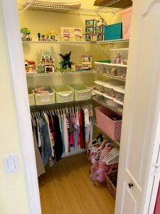 After of the playroom closet. Ever feel like your mess has gotten to the point of no return? It might be time to get some help with all that decluttering! Don't miss these three surprising lessons from hiring a professional organizer. Decluttering | Organizing | Hiring a Professional Organizer | Marie Kondo
