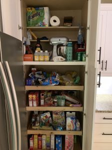 Before of the Kitchen pantry. Ever feel like your mess has gotten to the point of no return? It might be time to get some help with all that decluttering! Don't miss these three surprising lessons from hiring a professional organizer. Decluttering | Organizing | Hiring a Professional Organizer | Marie Kondo