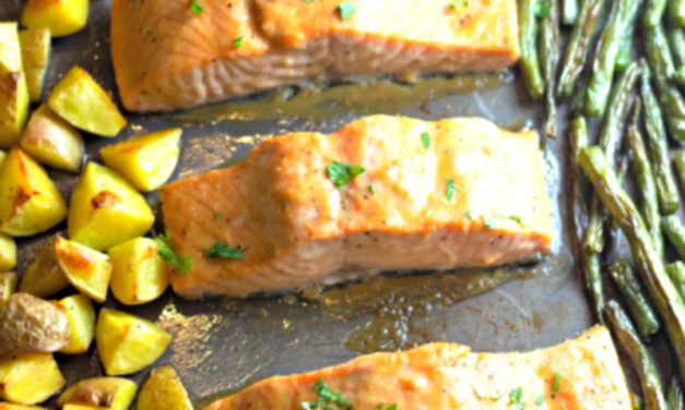 Maple Glazed Sheet Pan Salmon with Potatoes and Green Beans