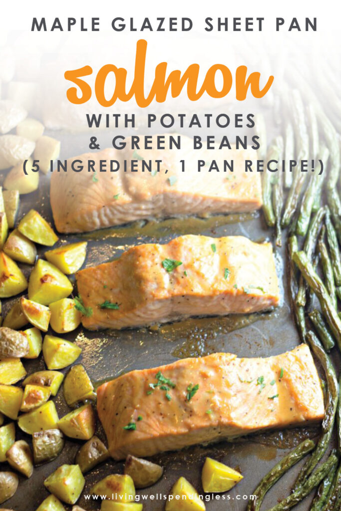 Looking for a quick dinner recipe that uses just 5 ingredients? This Maple Glazed Sheet Pan Salmon with Potatoes and Green Beans is so easy and delicious!