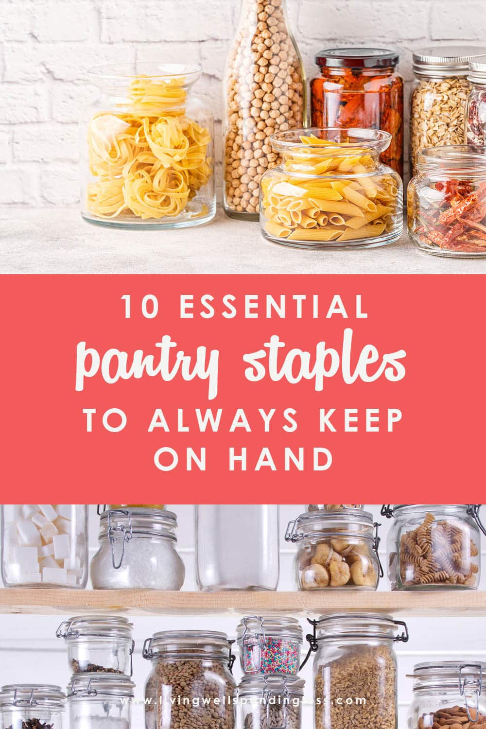 A well-stocked pantry can be a lifesaver, literally. Having additional dry food storage on hand helps you feel prepared and allows you to whip up budget-friendly meals on the fly, no pre-planning required! If you've ever wondered what you need to stock up on, you will not want to miss this helpful list of 10 pantry staples to always keep on hand!#pantrystaples #mealprep #pantrybudget