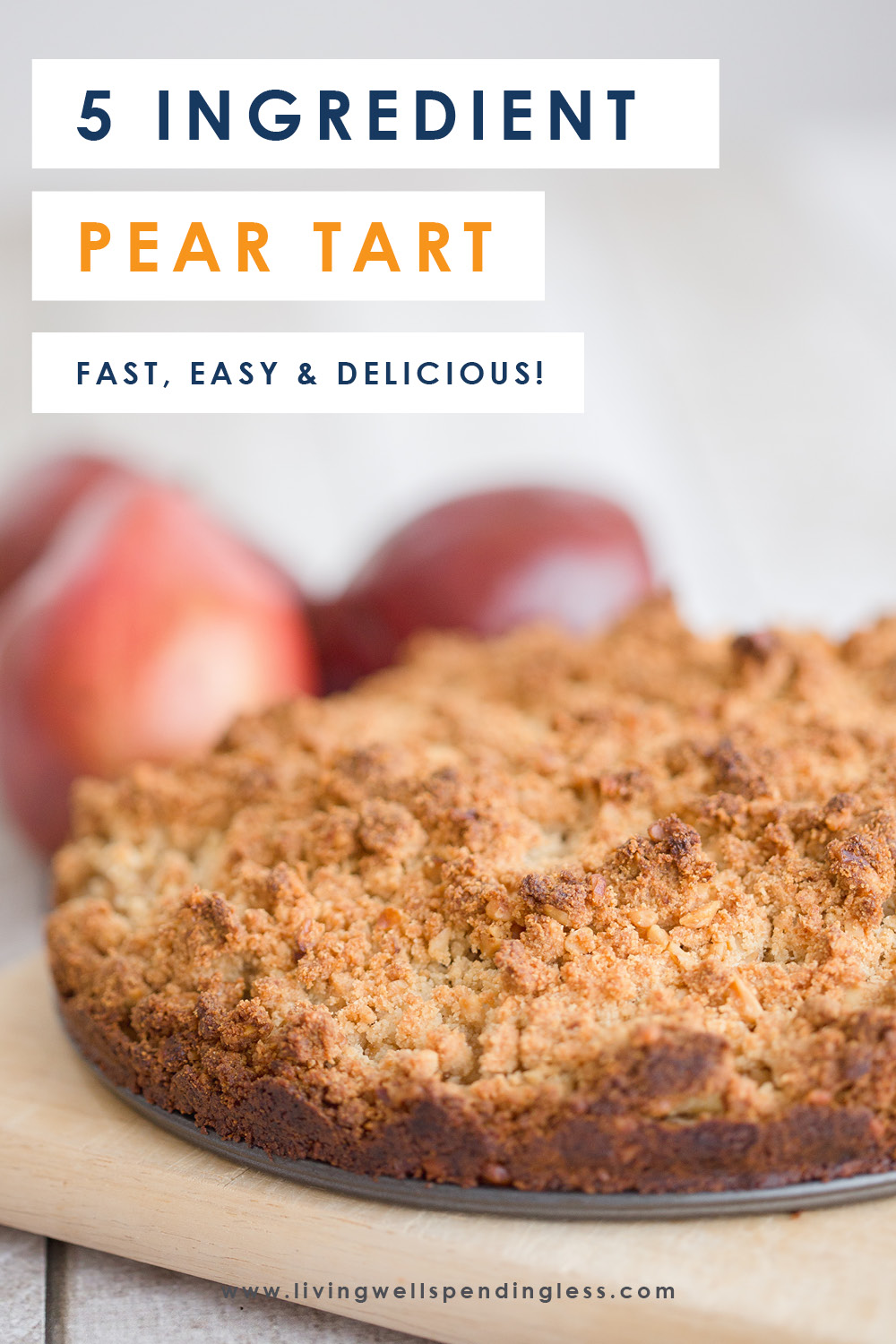 Ready for fall dessert that doesn't involve any pumpkins? Not only does this insanely amazing Pear Tart come together fast (less than 40 minutes from start to finish) AND call for just 5 easy ingredients, it's absolutely DELICIOUS! Serve warm with vanilla ice cream for a sweet treat your whole family will love! #recipes #dessertrecipes #5ingredientrecipes #pearrecipes #easyrecipes