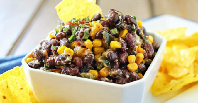 Corn & Blackbean salsa-Throwing a party? These 12 make ahead appetizers can be made in advance or thrown in the crockpot on the day of your party and are sure to wow your guests!