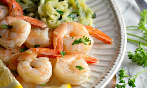 Garlic Butter Shrimp with Zoodles (20-Minute Keto-Friendly Recipe!)