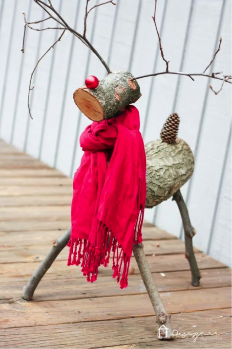DIY Reindeer made from wood scrapes so cute and free!