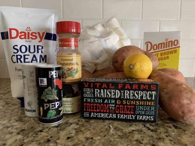 Ingredients for twice baked seet potatoes