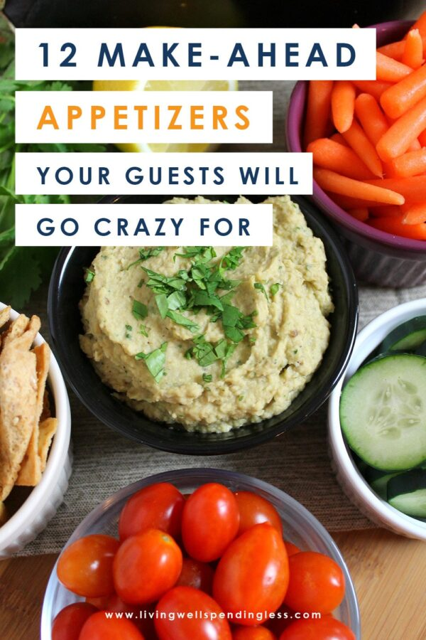 Throwing a party? These 12 make ahead appetizers can be made in advance or thrown in the crockpot on the day of your party and are sure to wow your guests! #recipes #crockpotrecipes #appetizerrecipes #easyrecipes #holidayrecipes