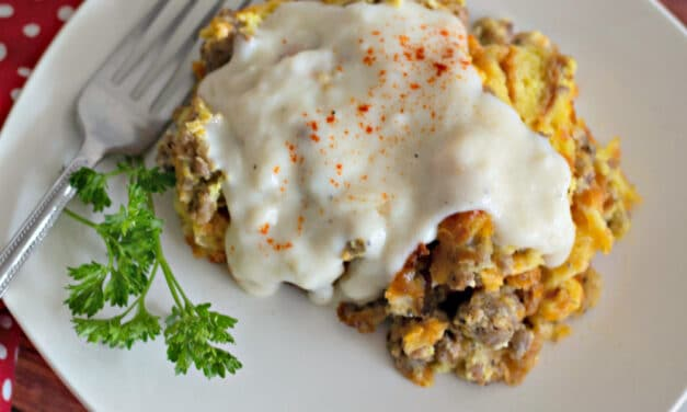 Overnight Croissant Breakfast Casserole with Easy Sausage Gravy