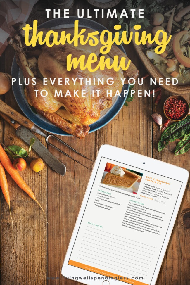 Looking for the ultimate menu for Thanksgiving dinner? We've got you covered! We've even included a shopping list and all the recipes!