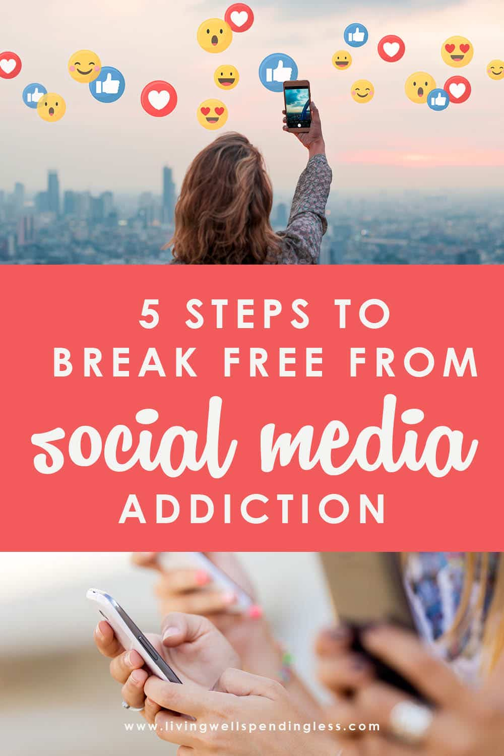 """Do you find yourself getting dragged into the time-suck of social media? If a """"quick look"""" ends up turning into the afternoon, then these 5 Steps to Break Free from Social Media Addiction will help you get your time back without having to delete a single app. It's a mind saver AND a game changer! #socialmedia #socialmedialife #timemanagement #addiction #moretime #focus"""