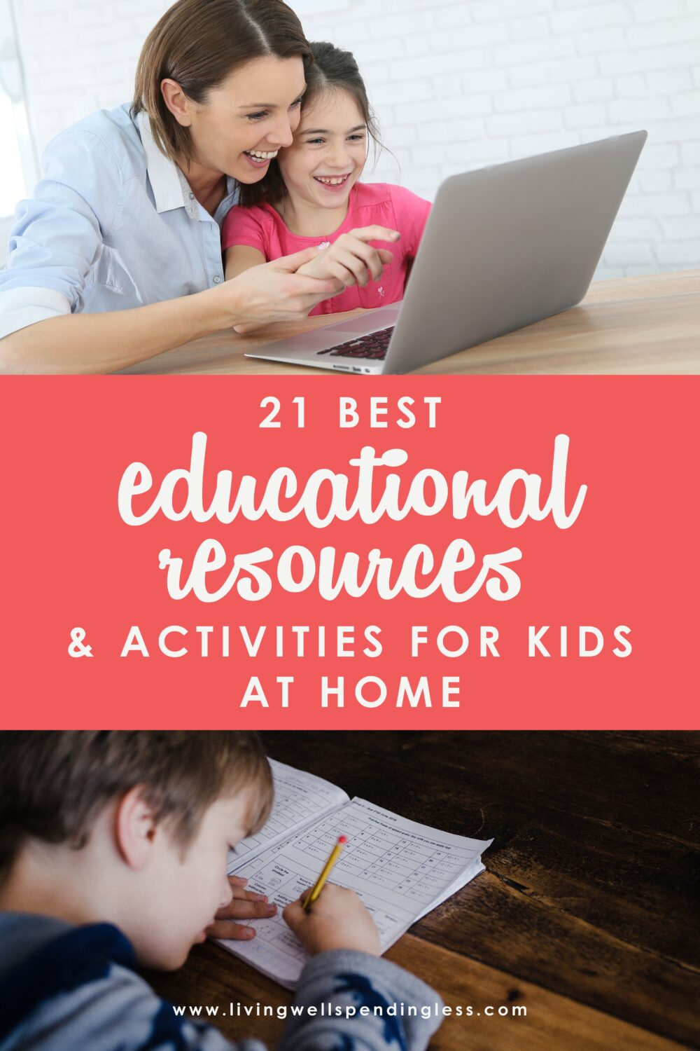 Finding yourself suddenly having to be at home for a few days (or weeks) with your whole family can be quite stressful. What are you supposed to do all day? How are you going to keep everyone entertained, fed, learning, and from going stir crazy (yourself included)? We've got you covered! We've gathered 21 of the Best Educational Resources and Activities to keep kids active, learning and engaged at home. Don't miss it! #homeschool #elearning #kidseducation #covid19 #kidsathomecovid19 #pbskids #kidsactivites