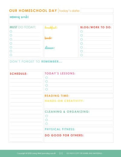 Our Homeschool planner daily schedule