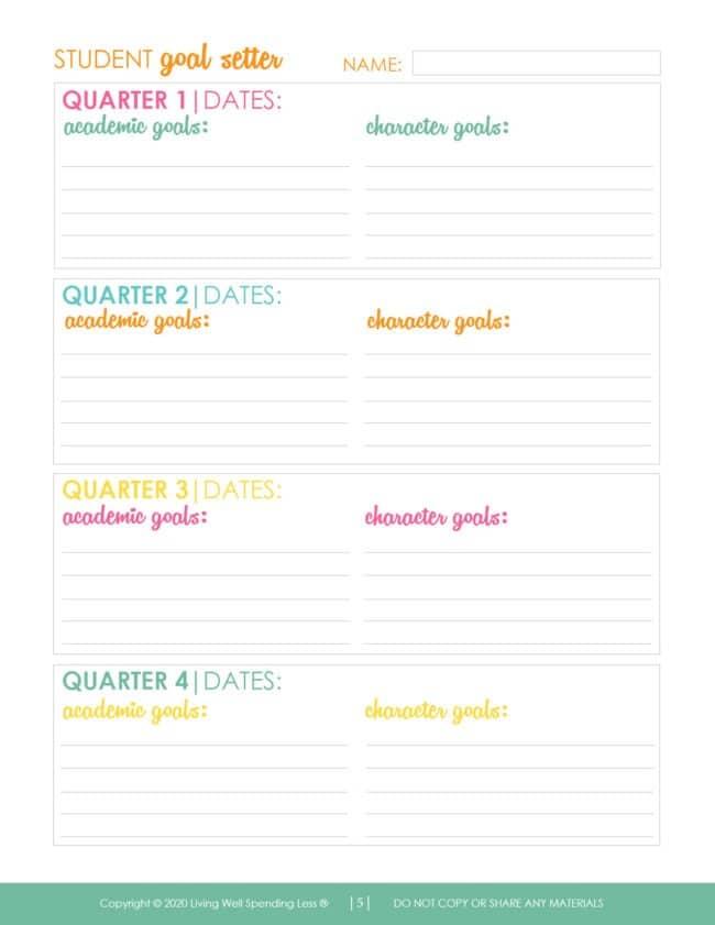 Goal setting sheet for your child's homeschool education.