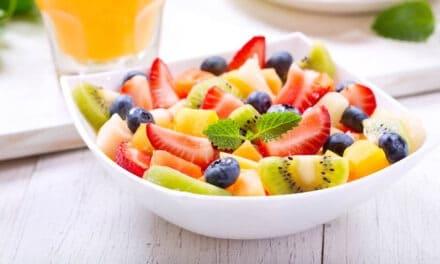 Fresh Fruit Salad with Honey Lemon & Mint Syrup