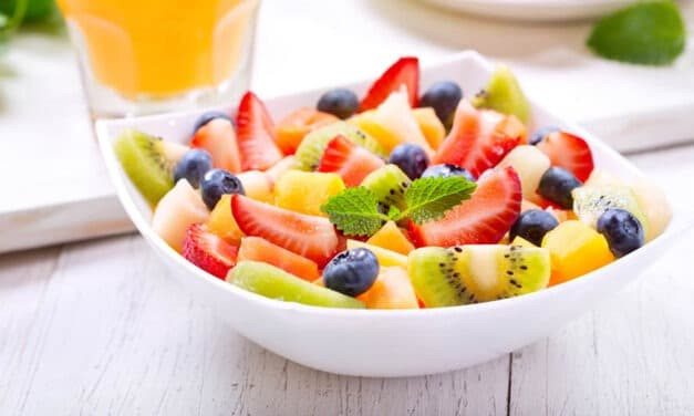 Fresh Fruit Salad with Honey Lemon & Mint Syrup