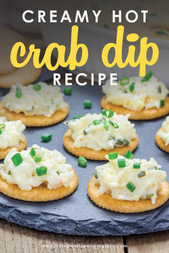 Looking for a delicious party dip? This creamy crockpot crab dip is the perfect dip to serve at a get together. Serve with crackers or baguettes.