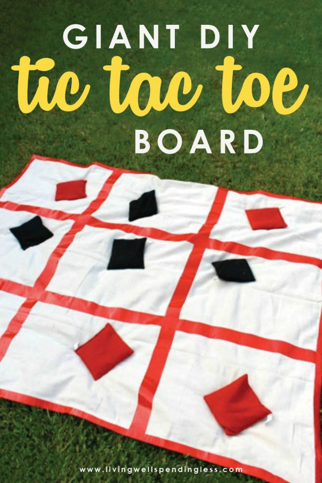 This giant DIY tic tac toe board brings a classic game to life in a BIG way! It comes together in just minutes for a fun game the whole family will love!