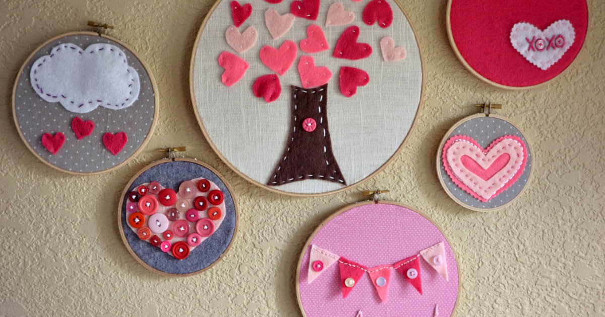 Valentine's Day Embroidery Hoop Art