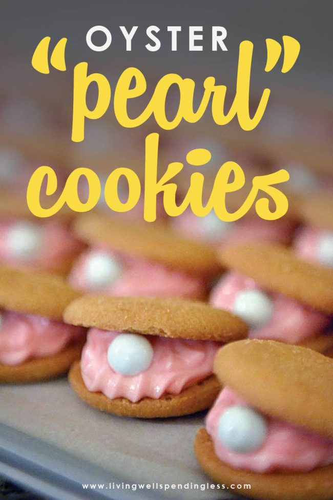 This easy oyster pearl cookie recipe is so cute--no baking required! So easy to make! The perfect treat for a mermaid, beach, or under-the-sea themed party.